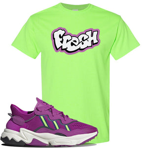 Ozweego Vivid Pink Sneaker Neon Green T Shirt | Tees to match Adidas Ozweego Vivid Pink Shoes | Fresh