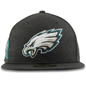 Embroidered on the front of the Philadelphia Eagles 59Fifty Black Home Fitted Cap is the Eagles logo