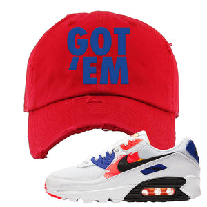 Air Max 90 Paint Streaks Distressed Dad Hat | Got Em, Red