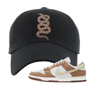 Dunk Low Medium Curry Dad Hat | Coiled Snake, Black