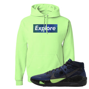 KD 13 Planet of Hoops Hoodie | Explore Box Logo, Neon Green