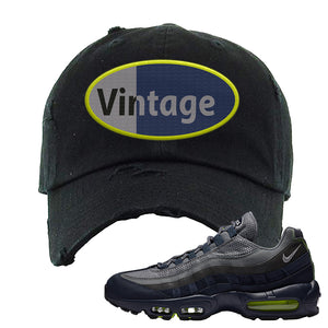 Air Max 95 Midnight Navy / Volt Distressed Dad Hat | Black, Vintage Oval