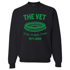 The Vet Pride, Pretzels, Prison Crewneck | Veterans Stadium Black Crewneck Sweatshirt the front of this crewneck has the vet stadium