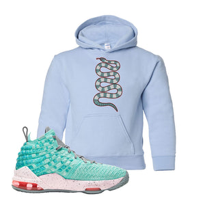 Lebron 17 South Beach Kids Pullover Hoodie | Coiled Snake, Light Blue
