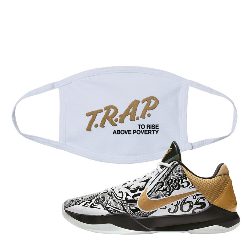 Nike Kobe 5 Protro Big Stage Face Mask | Trap To Rise Above Poverty, White