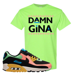 Furry Air Max 90 Bright Neon T Shirt | Damn Gina, Neon Green