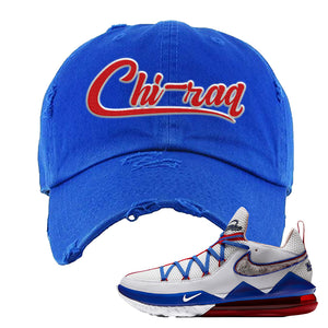 LeBron 17 Low Tune Squad Sneaker Royal Blue Distressed Dad Hat | Hat to match Nike LeBron 17 Low Tune Squad Shoes | Chiraq