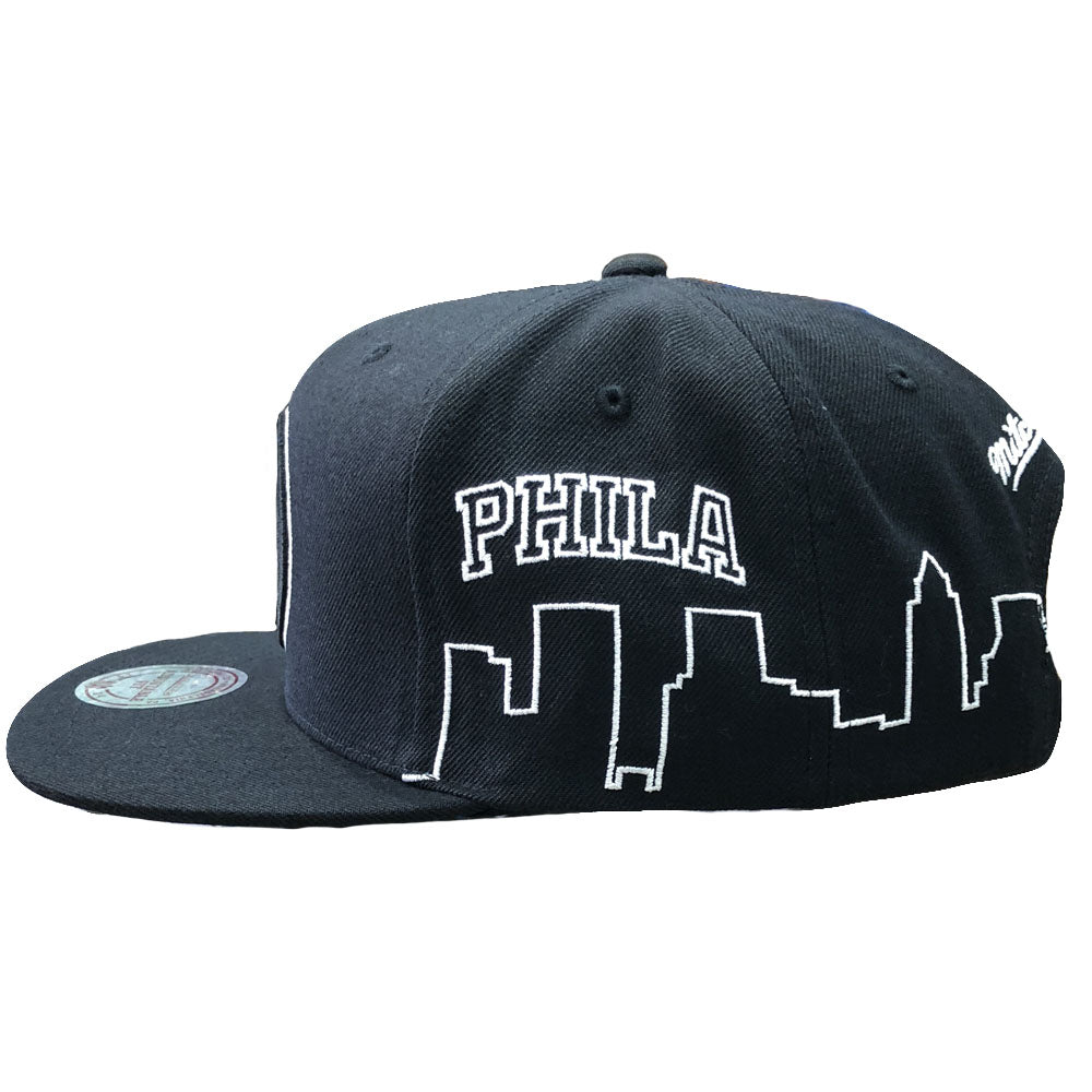 2591910916e93 Philadelphia 76ers City Skyline Mitchell and Ness Black Snapback Hat – Cap  Swag