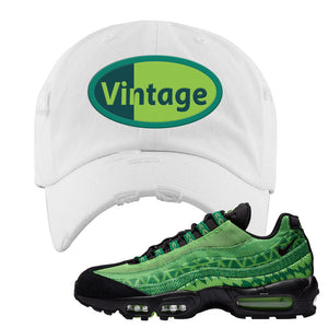 Air Max 95 Naija Distressed Dad Hat | Vintage Oval, White