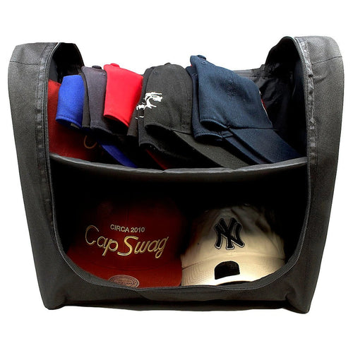 the 24 piece jet black new era cap carrier can fit 24 hats inside