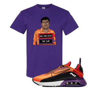 Air Max 2090 Magma Orange T Shirt | Purple, El Chapo Illustration