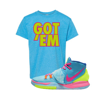 Kyrie 6 Pool Kids T-Shirt | Got Em, Heather Sapphire