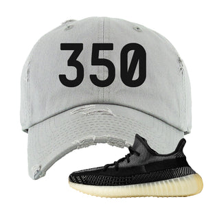 Yeezy Boost 350 v2 Carbon Distressed Dad Hat | 350, Light Gray
