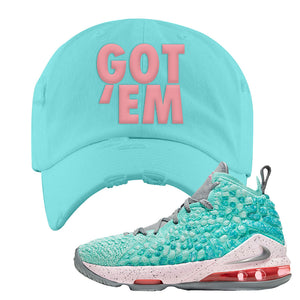 LeBron 17 'South Beach' DIstressed Dad Hat | Diamond Blue, Got Em