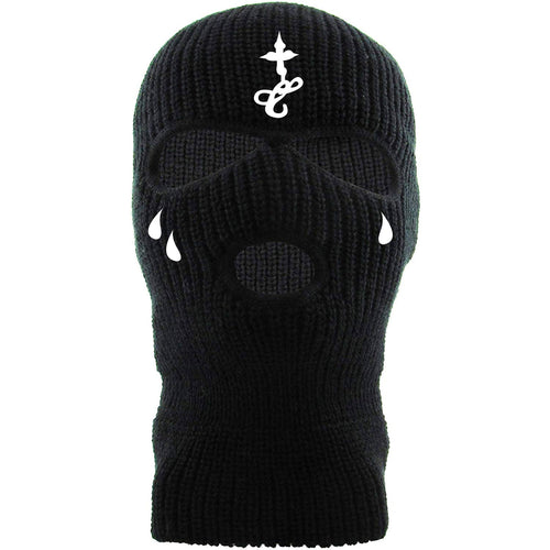 Embroidered on the front of the black ski mask are the lil wayne face tattoos embroidered in white