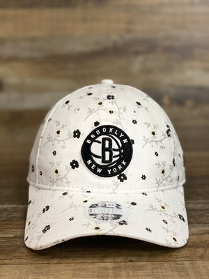 front of  BROOKLYN NETS | BLOSSOM SPRING MICRO FLORAL | 9TWENTY (920) DAD HAT nEW ERA | | WHITE | WOMENS OSFM