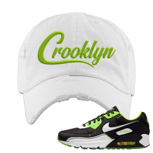 Air Max 90 Exeter Edition Black Distressed Dad Hat | Crooklyn, White