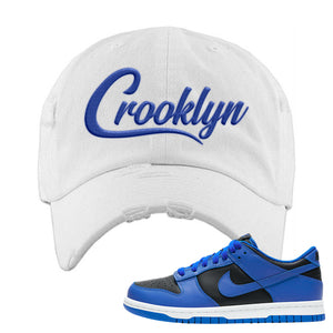 Dunk Low Hyper Cobalt Distressed Dad Hat | Crooklyn, White