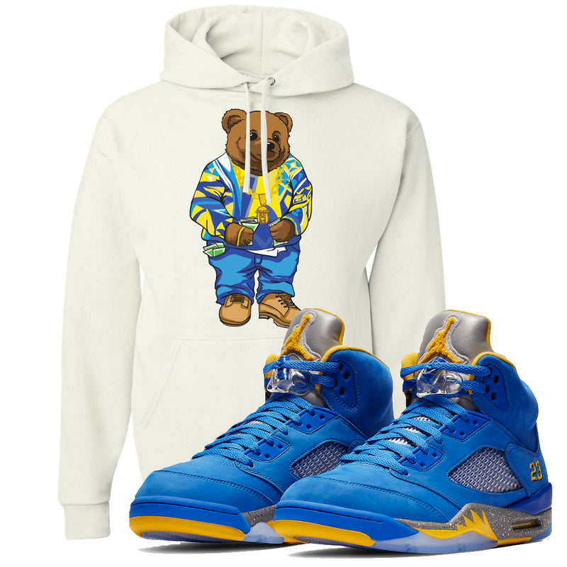 This white hoodie will match great with your Jordan 5 Alternate Laney JSP shoes
