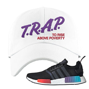 NMD R1 Gradient Dad Hat | White, Trap To Rise Above Poverty