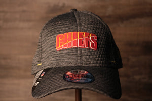 Chiefs 2020 Training Camp Flexfit | Kansas City Chiefs 2020 On-Field Grey Training Camp Stretch Fit  the front of this chiefs hat has the chiefs name on it