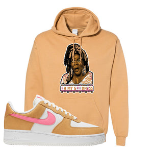 Nike Air Force 1 Pink Orange Hoodie | Oh My Goodness, Old Gold