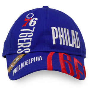 Front of 76ers Dad hat | Philadelphia Sixers series tip off blue 920 Dad cap 2019