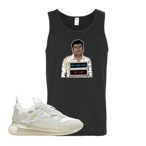 Air Max 720 OBJ Slip White Tank Top | Black, El Chapo Illustration
