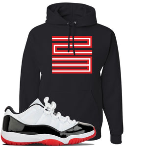 Jordan 11 Low White Black Red Sneaker Black Pullover Hoodie | Hoodie to match Nike Air Jordan 11 Low White Black Red Shoes | Jordan 11 23
