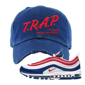 Air Max 97 USA Distressed Dad Hat | Navy Blue, Trap To Rise Above Poverty