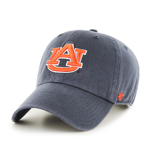 on the front of the auburn university dad hat is the AU logo embroidered in orange and white