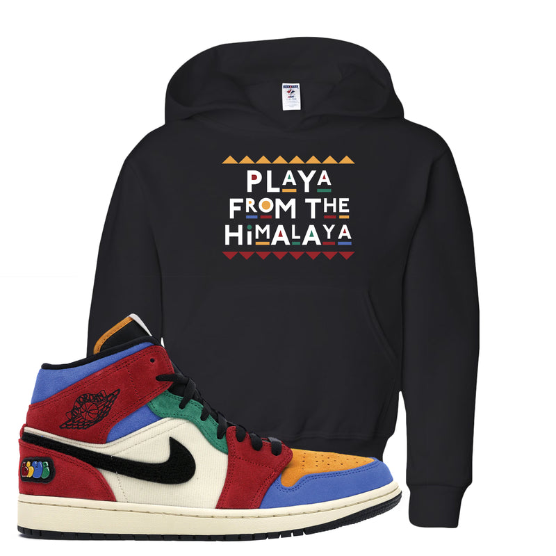 Jordan 1 X Blue The Great Kid's Hoodie | Black, Playa From The Himalaya