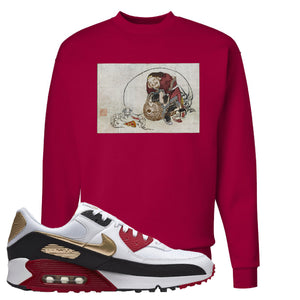 Air Max 90 Chinese New Year Crewneck Sweatshirt | Deep Red, Japanese Rat Party