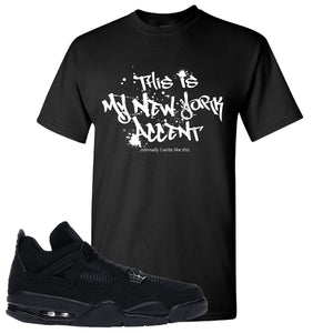 Air Jordan 4 Black Cat NY Accent Black Made to Match T-Shirt