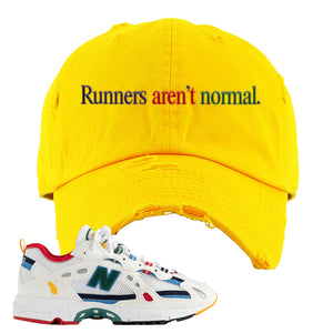 Aime Leon Dore X New Balance 827 Abzorb Multicolor 'White' Distressed Dad Hat | Gold, Runners Aren't Normal