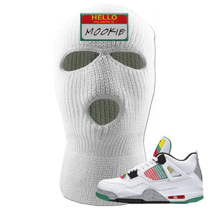 Jordan 4 WMNS Carnival Sneaker White Ski Mask | Winter Mask to match Do The Right Thing 4s | Hello My Name Is Mookie