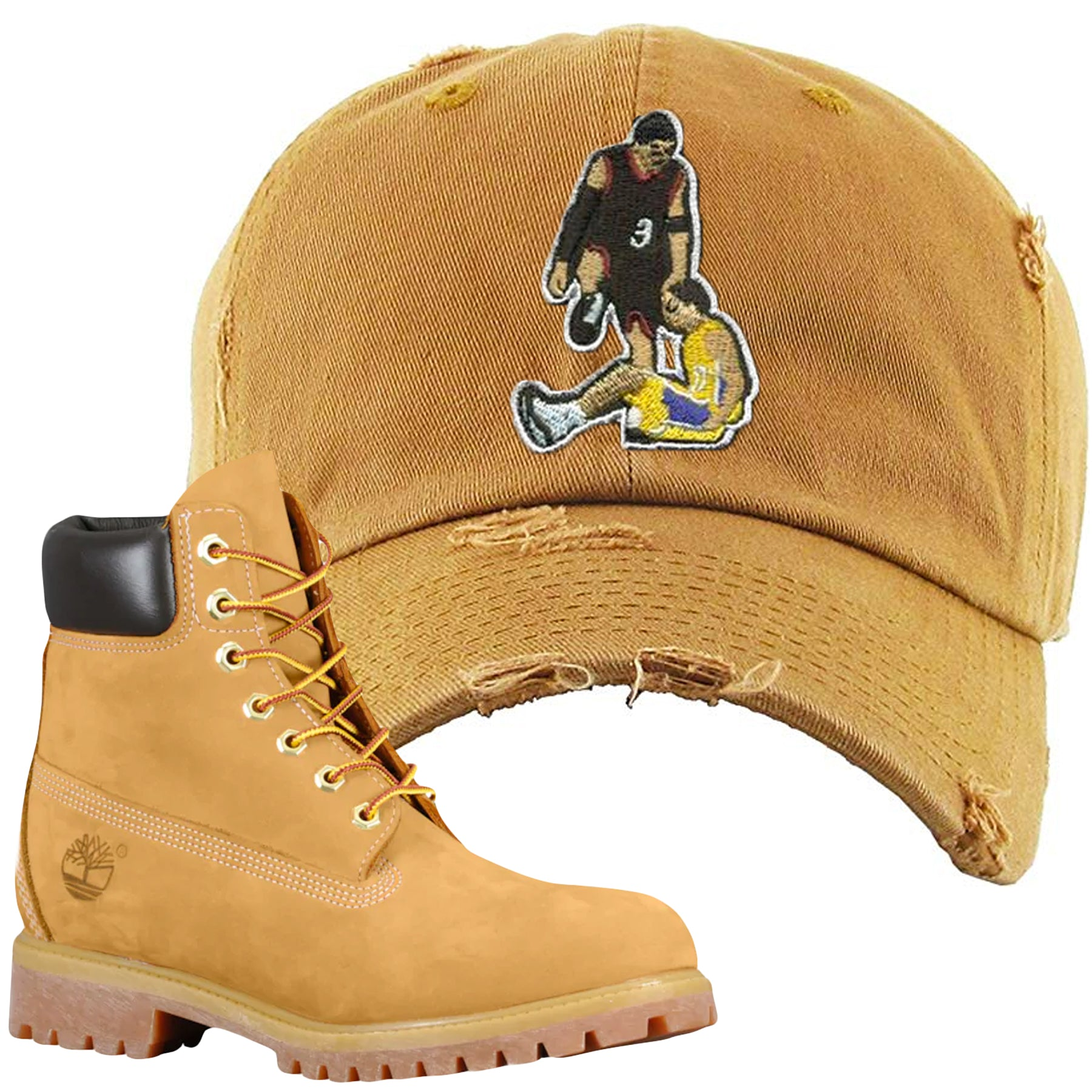 409835f1 Embroidered on the front of the Timberland Wheat Timbs Boot Matching Dad Hat  is a matching