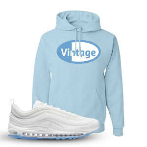 Air Max 97 White/Ice Blue/White Sneaker Light Blue Pullover Hoodie | Hoodie to match Nike Air Max 97 White/Ice Blue/White Shoes | Vintage Oval