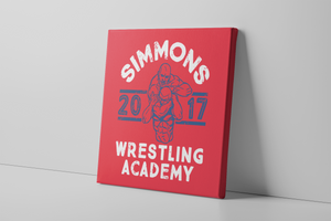 Simmons Wrestling Academy Canvas | Ben Simmons Wrestling Academy Red Wall Canvas the front of this canvas has the ben simmons wrestling academy logo