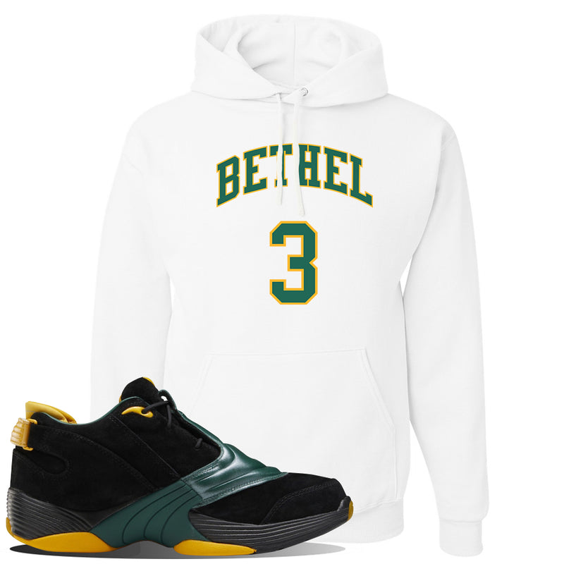 Answer 5 Bethel High Sneaker White Pullover Hoodie | Hoodie to match Reebok Answer 5 Bethel High Shoes | Bethel 3 Arch