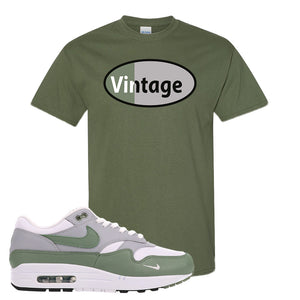 Air Max 1 Spiral Sage T-Shirt | Vintage Oval, Military Green