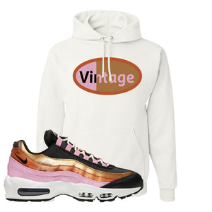 Air Max 95 WMNS Copper and Gold Pullover Hoodie | Vintage Oval, White