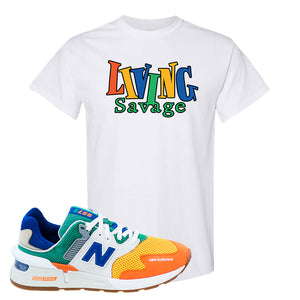 997S Multicolor Sneaker White T Shirt | Tees to match New Balance 997S Multicolor Shoes | Living Savage