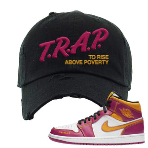 Air Jordan 1 Mid Familia Distressed Dad Hat | Trap To Rise Above Poverty, Black
