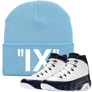 This Jordan 9 UNC All Star Blue Pearl sneaker matching winter beanie is perfect for matching the Jordan 9 UNC  Blue Pear sneakers
