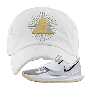 Kyrie Low 3 Distressed Dad Hat | White, All Seeing Eye