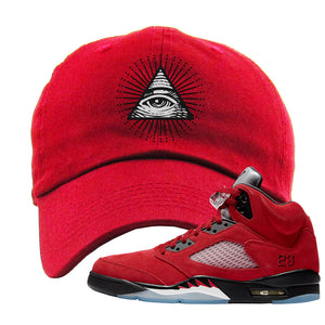 Air Jordan 5 Raging Bull Dad Hat | All Seeing Eye, Red