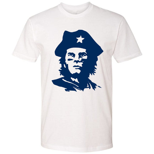 On the front of the Tom Brady Tricorn Hat T-Shirt is the Brady wearing a tricorn hat