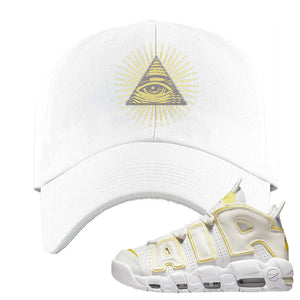 Air More Uptempo Light Citron Dad Hat | All Seeing Eye, White
