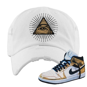 Air Jordan 1 Mid SE Metallic Gold Distressed Dad Hat | All Seeing Eye, White